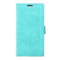 Croco peněženkové pouzdro na Samsung Galaxy Trend 2 Lite - cyan