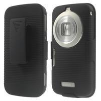 Odolný pogumovaný kryt so stojanom pre Samsung Galaxy K Zoom - čierny