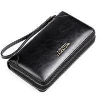 Weix peněženka z pravé kůže s přihrádkami - černá