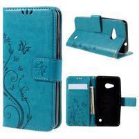 Butterfly koženkové pouzdro na Microsoft Lumia 550 - modré
