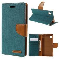 Canvas textilné / koženkové puzdro na Sony Xperia M4 Aqua - zelenomodré
