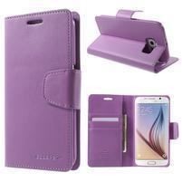 Diary PU kožené pouzdro na mobil Samsung Galaxy S6 -fialové