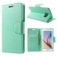Diary PU kožené pouzdro na mobil Samsung Galaxy S6 -cyan