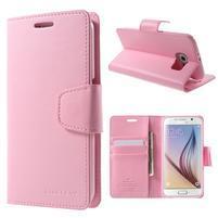 Diary PU kožené pouzdro na mobil Samsung Galaxy S6 -růžové