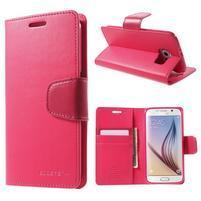 Diary PU kožené pouzdro na mobil Samsung Galaxy S6 -rose