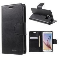 Diary PU kožené pouzdro na mobil Samsung Galaxy S6 -černé