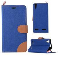 Jeans PU kožené/textilní pouzdro na mobil Lenovo A6000 - tmavěmodré