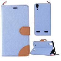 Jeans PU kožené/textilní pouzdro na mobil Lenovo A6000 - světlemodré