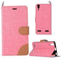 Jeans PU kožené/textilní pouzdro na mobil Lenovo A6000 - růžové