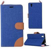 Jeans PU kožené/textilní pouzdro na mobil Lenovo P70 - tmavěmodré