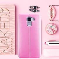 Elegantní PU kožené pouzdro na mobil Huawei Honor 7 - růžové