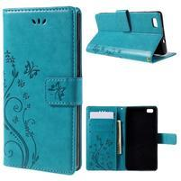 Butterfly PU kožené pouzdro na Huawei Ascend P8 Lite - modré