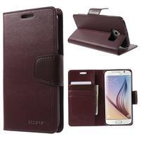 Diary PU kožené pouzdro na mobil Samsung Galaxy S6 - vínové