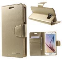 Diary PU kožené pouzdro na mobil Samsung Galaxy S6 - zlaté