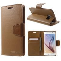 Diary PU kožené pouzdro na mobil Samsung Galaxy S6 - hnědé
