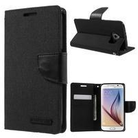 Luxury textilní/koženkové pouzdro na Samsung Galaxy S6 - černé