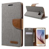 Luxury textilní/koženkové pouzdro na Samsung Galaxy S6 - šedé