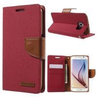 Luxury textilní/koženkové pouzdro na Samsung Galaxy S6 - červené