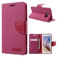 Luxury textilní/koženkové pouzdro na Samsung Galaxy S6 - rose