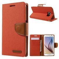 Luxury textilní/koženkové pouzdro na Samsung Galaxy S6 - oranžové