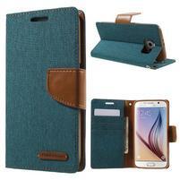 Luxury textilní/koženkové pouzdro na Samsung Galaxy S6 - zelenomodré