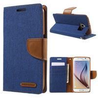 Luxury textilní/koženkové pouzdro na Samsung Galaxy S6 - modré