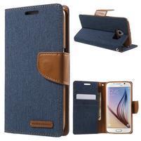 Luxury textilní/koženkové pouzdro na Samsung Galaxy S6 - jeans