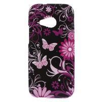 Gelový kryt na HTC One mini 2 - květiny a motýlci