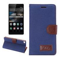 Stylové peněženkové pouzdro Jeans na Huawei Ascend P8 - tmavě modré