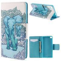 Peněženkové pouzdro Huawei Ascend P8 - modrý slon