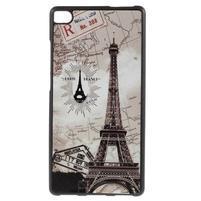 Gelový kryt s koženými zády na Huawei Ascend P8 - Eiffelova věž