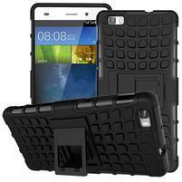 Outdoor odolný kryt 2v1 se stojánkem pro Huawei Ascend P8 Lite - černý
