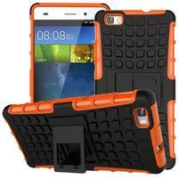 Outdoor odolný kryt 2v1 se stojánkem pro Huawei Ascend P8 Lite - oranžový
