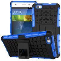 Outdoor odolný kryt 2v1 se stojánkem pro Huawei Ascend P8 Lite - modrý
