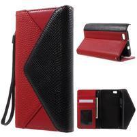 Luxusní peněženkové pouzdro na Huawei P8 Lite - červené / černé