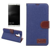 Jeans PU kožené puzdro na mobil Huawei Mate 8 - tmavomodré