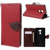 Knížkové PU kožené pouzdro na mobil Huawei Mate S - červené