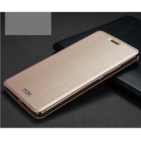 Vintage PU kožené pouzdro s kovovou výstuhou na Huawei Mate S - zlaté