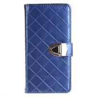 Luxury PU kožené peněženkové pouzdro na Huawei P9 Lite - modré