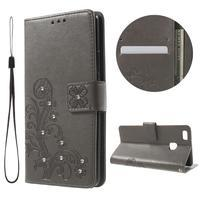 Cloverleaf peněženkové pouzdro s kamínky na Huawei P9 Lite - šedé