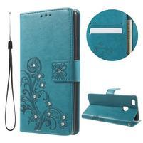 Cloverleaf peněženkové pouzdro s kamínky na Huawei P9 Lite - modré