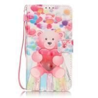 Knížkové PU kožené pouzdro na Huawei P9 Lite - medvídek