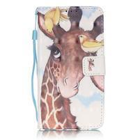 Knížkové PU kožené pouzdro na Huawei P9 Lite - žirafa