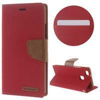 Canvas PU kožené/textilní pouzdro na Huawei P9 Lite - červené