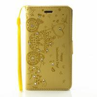 Loves PU kožené pouzdro s kamínky na Huawei P9 Lite - žluté