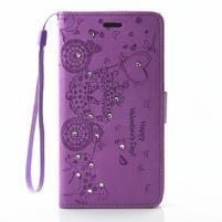 Loves PU kožené pouzdro s kamínky na Huawei P9 Lite - fialové