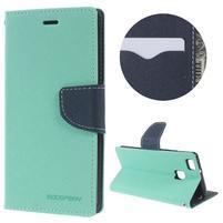 Diary PU kožené pouzdro na telefon Huawei P9 Lite - azurové