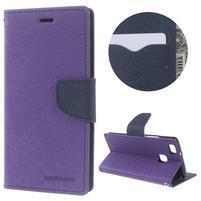 Diary PU kožené pouzdro na telefon Huawei P9 Lite - fialové