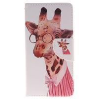 Lethy knížkové pouzdro na telefon Huawei P9 Lite - žirafa