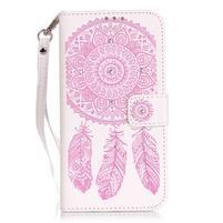 Dream PU kožené pouzdro s kamínky na Huawei P9 Lite - růžové/bílé